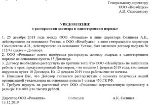 Письмо о расторжение договора поставки образец