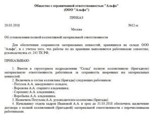Образец приказа о назначении материально ответственных лиц в школе