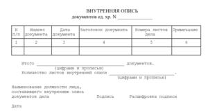 Опись документов по передаче дел другому сотруднику
