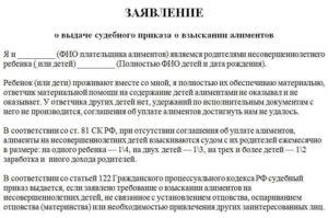 Заявление о выдаче судебного приказа на алименты госпошлина