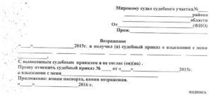 Образец возражения на заявление о вынесении судебного приказа