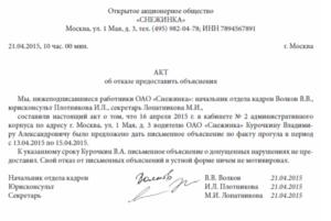 Акт о непредоставлении документов