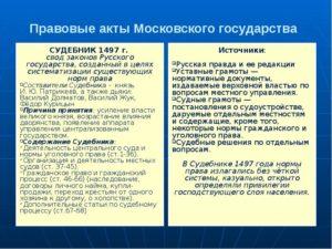 Развитие права в московском государстве кратко