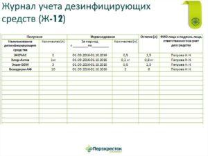 Журнал учета дезинфицирующих средств в общепите образец заполнения