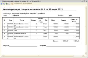 Инвентаризация товаров на складе документы