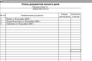 Как составить реестр документов образец