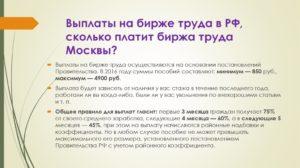 Биржа труда москва сколько платят