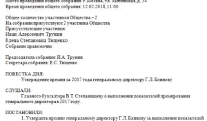 Протокол собрания о премировании генерального директора образец