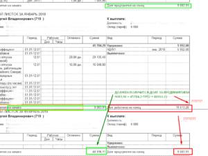 Строка в расчетнои листе долг за предприятием что значит